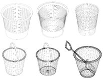 Waste baskets in black on a white background isolated Stock Photo