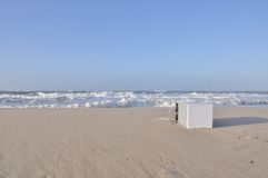 Waste at the beach. Refrigerator at the beach of Sylt Stock Photo
