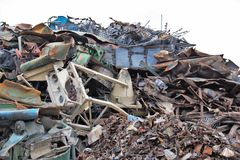 Waste becomes new products after recycling. Waste products are recycled during recycling waste recyclingOr their starting materials are converted into secondary Stock Photo
