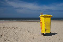 Waste Bin on the beach royalty free stock image