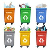Waste bin categories. Trash recycle, separating garbage containers. Organic paper plastic glass metal mixed waste vector royalty free illustration