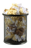 Waste bin with crumpled paper Royalty Free Stock Images