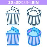 The waste bin. Flat and isometric 3d outline icon set. The office waste bin. Flat and isometric 3d outline icon set. The trash can, wastebasket with paper stock illustration