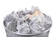 Waste bin with light bulbs Stock Image