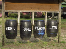 Waste bins for recycling with spanish text Stock Image