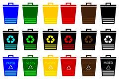 Waste bins - set, waste separation, Royalty Free Stock Photos