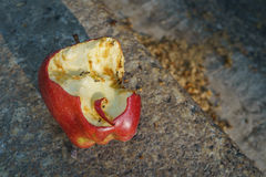 Waste bitten red apple left over with ants beside the road stock photos