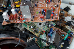 Waste of board electronics, microcircuits, capacitors Stock Images