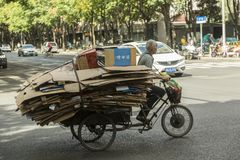 Waste carton collector Shanghai, China Stock Photography