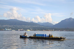 Waste Clean Up  Barge, Vancouver Harbor Stock Images