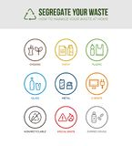 Waste separation and recycling icons royalty free illustration