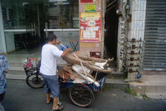 Waste collection tricycle, in China Stock Photo