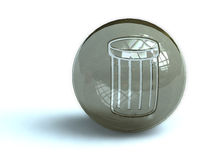 Waste container button. Illustration of waste container symbol on spherical gray button, isolated on white background Royalty Free Stock Photography