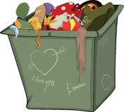 Waste container. Cartoon Stock Image