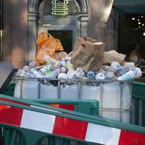 Waste container in London. London, United Kingdom - June 26, 2018 : Waste in London royalty free stock images