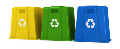 Waste containers. Three waste containers in different colors with recycling symbol (3d render Stock Illustration
