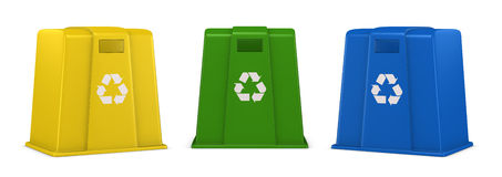 Waste containers. Three waste containers in different colors with recycling symbol (3d render Stock Photo