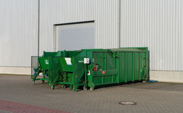 Waste containers. Green waste containers for paper and plastic Stock Photography