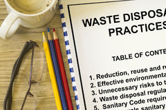 Waste disposal. Cconcept-  subject in a cover sheet of a lecture Royalty Free Stock Photos