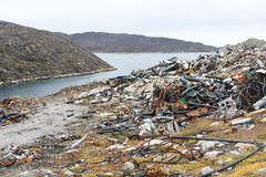 Waste disposal site in Greenland Stock Images