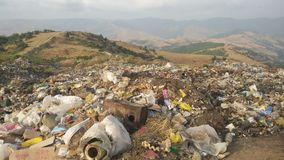 Waste disposal site. Uncontrolled waste disposal site in a mountainous area Stock Image