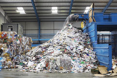 Waste Falling On Pile From Conveyor Belt Stock Photos
