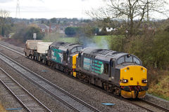 Waste fuels train. STOKE PRIOR, UK - FEBRUARY 28: A DRS operated waste fuels train heads towards Crewe yard before heading onto the spent fuel recycling plant on Royalty Free Stock Photos