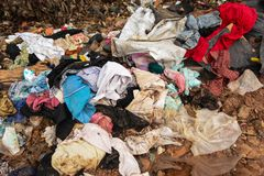 Waste from garbage that is difficult to remove. royalty free stock photo