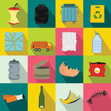 Waste and garbage icons set, flat style Stock Photos