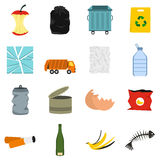 Waste and garbage icons set, flat style Royalty Free Stock Photos