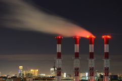 Waste gas fumes emission at night Royalty Free Stock Photo