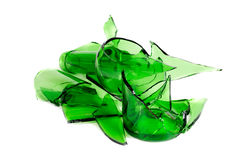 Waste glass.Recycled. Green  bottle Royalty Free Stock Images