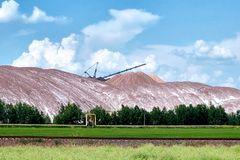 Waste heaps - with salt dumps of a place of accumulation of potash production wastes.  stock photos