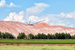 Waste heaps - with salt dumps of a place of accumulation of potash production wastes.  royalty free stock photography