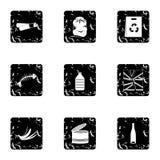 Waste icons set, grunge style. Waste icons set. Grunge illustration of 9 waste vector icons for web Stock Image