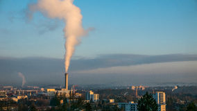 A waste inceneration plant in Zurich. Pumping out smoke Royalty Free Stock Image