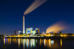 Waste Incineration Plant At Night Royalty Free Stock Photo