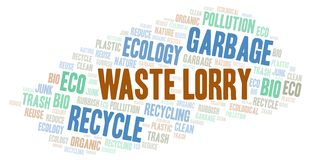 Waste Lorry word cloud. Wordcloud made with text only vector illustration