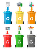 Waste management concept. Waste segregation. Separation of waste on garbage cans. Sorting waste for recycling. Disposal waste. Colored waste bins with trash Stock Photography