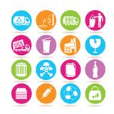 Waste management icons. Set of 16 waste management icons in colorful buttons Stock Image