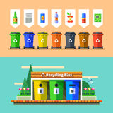 Waste management and recycle concept. Flat vector. Stock Images