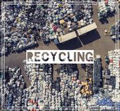 Waste Management. Recycling. View landfill bird`s-eye view. Land Stock Photography