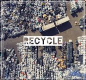 Waste Management. Recycling. View landfill bird`s-eye view. Land Stock Photo