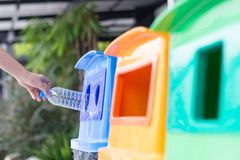 Waste Management, Woman Throwing Plastic Bottle Into Recycle Bin. Waste Separation Rubbish Before Drop To Garbage Bin To Save The Royalty Free Stock Image