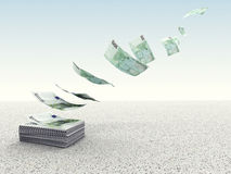 Waste money. 3d image of money fly in the sky Stock Photography