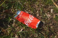 Waste in the natur. Cola waste in the natur, red cola can stock images
