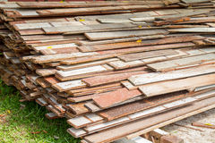 Waste old wood recycle stack for background Royalty Free Stock Images