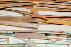 Waste old wood recycle stack for  background Royalty Free Stock Image