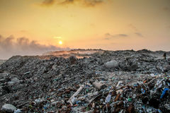 Waste Open Burning site. This is am image from Thilafushi, open burning waste dumping site in the Maldives Stock Photos