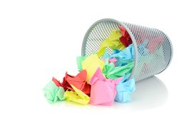 A waste paper bin with paper Royalty Free Stock Photo